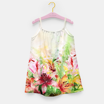Thumbnail image of Watercolor Basket Lilies Girl's dress, Live Heroes
