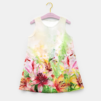Thumbnail image of Watercolor Basket Lilies Girl's summer dress, Live Heroes
