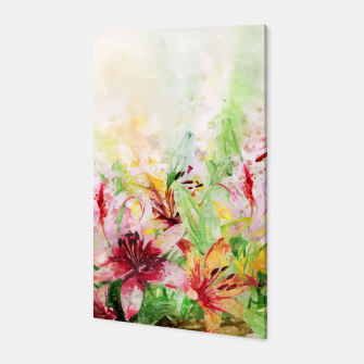 Thumbnail image of Watercolor Basket Lilies Canvas, Live Heroes