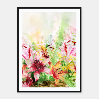 Thumbnail image of Watercolor Basket Lilies Framed poster, Live Heroes