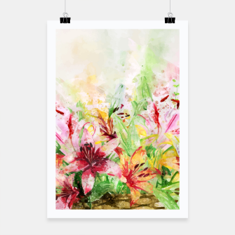 Thumbnail image of Watercolor Basket Lilies Poster, Live Heroes