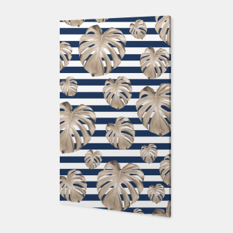 Thumbnail image of Monstera Pattern on Stripes #1 #tropical #pattern #decor #art Canvas, Live Heroes