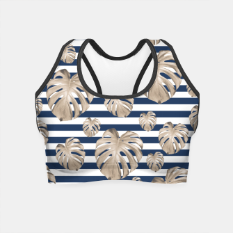 Thumbnail image of Monstera Pattern on Stripes #1 #tropical #pattern #decor #art Crop Top, Live Heroes