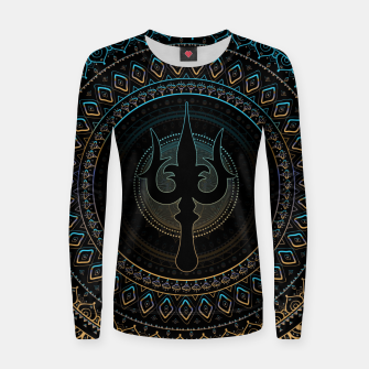 Thumbnail image of Trisula  -Trident of Shiva Woman cotton sweater, Live Heroes
