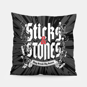Thumbnail image of Sticks and Stones Pillow, Live Heroes