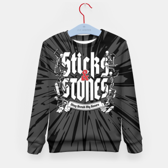 Thumbnail image of Sticks and Stones Kid's sweater, Live Heroes