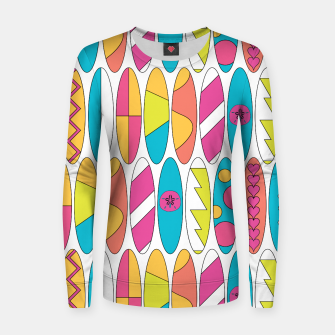 Imagen en miniatura de Rainbow Colored Waikiki Surfboards  Woman cotton sweater, Live Heroes