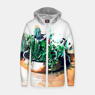 Thumbnail image of Cacti in a Copper Pot Cotton zip up hoodie, Live Heroes