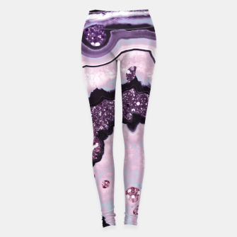 Thumbnail image of Unicorn Girls Glitter Agate #1 #gem #shiny #pastel #decor #art Leggings, Live Heroes