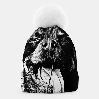 Thumbnail image of gxp rottweiler dog long tongue vector art black white Beanie, Live Heroes