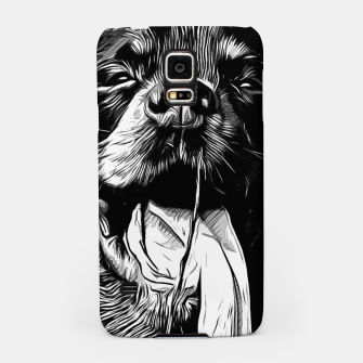 Thumbnail image of gxp rottweiler dog long tongue vector art black white Samsung Case, Live Heroes