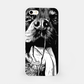 Thumbnail image of gxp rottweiler dog long tongue vector art black white iPhone Case, Live Heroes
