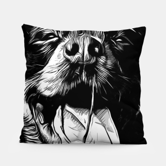 Thumbnail image of gxp rottweiler dog long tongue vector art black white Pillow, Live Heroes