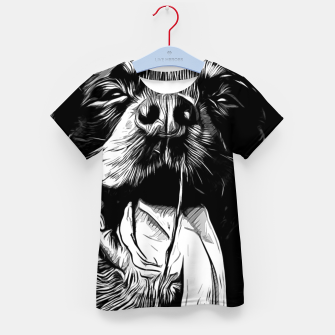 Thumbnail image of gxp rottweiler dog long tongue vector art black white Kid's t-shirt, Live Heroes