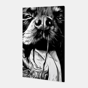 Thumbnail image of gxp rottweiler dog long tongue vector art black white Canvas, Live Heroes