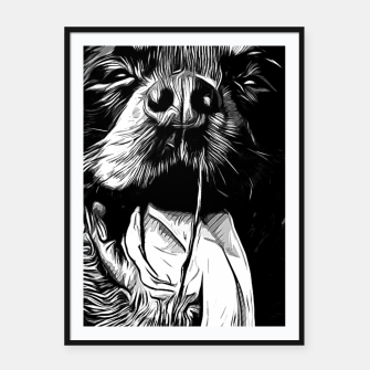 Thumbnail image of gxp rottweiler dog long tongue vector art black white Framed poster, Live Heroes