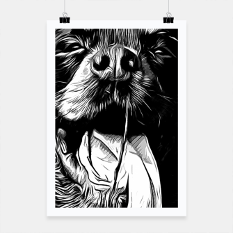 Thumbnail image of gxp rottweiler dog long tongue vector art black white Poster, Live Heroes