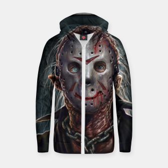 Thumbnail image of Jason Voorhees Cotton zip up hoodie, Live Heroes