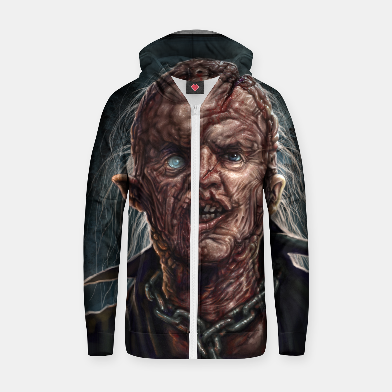 Image of Jason Voorhees - Unmasked Cotton zip up hoodie - Live Heroes