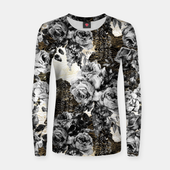 Miniaturka Dark abstract bloom over golden lines Sudadera de algodón para mujer, Live Heroes
