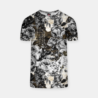 Miniaturka Dark abstract bloom over golden lines Camiseta, Live Heroes