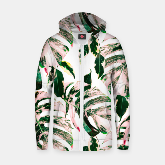Thumbnail image of Big beautiful monstera Sudadera con capucha y cremallera de algodón , Live Heroes