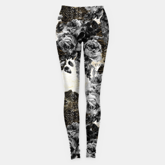 Miniaturka Dark abstract bloom over golden lines Leggings, Live Heroes