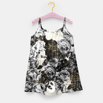 Thumbnail image of Dark abstract bloom over golden lines Vestido para niñas, Live Heroes