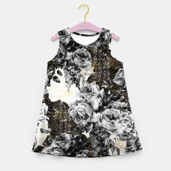Miniaturka Dark abstract bloom over golden lines Vestido de verano para niñas, Live Heroes