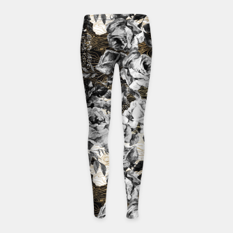 Thumbnail image of Dark abstract bloom over golden lines Leggings para niña, Live Heroes