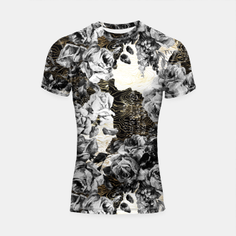 Thumbnail image of Dark abstract bloom over golden lines Shortsleeve rashguard, Live Heroes