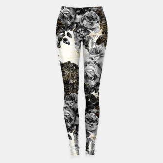 Thumbnail image of Dark abstract bloom over golden lines Leggings, Live Heroes