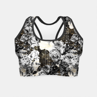 Miniaturka Dark abstract bloom over golden lines Crop Top, Live Heroes