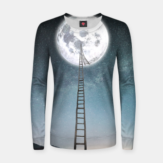 Thumbnail image of Reach the moon Pull femme en coton, Live Heroes