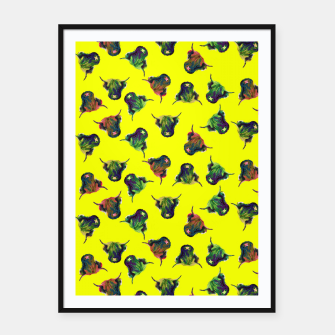 Thumbnail image of Cow in Yellow  Framed poster, Live Heroes