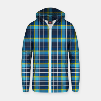 Thumbnail image of Blue and Yellow Check Cotton zip up hoodie, Live Heroes