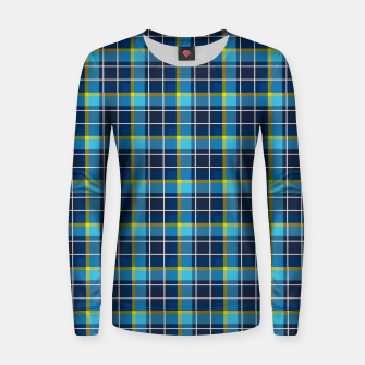 Thumbnail image of Blue and Yellow Check Woman cotton sweater, Live Heroes