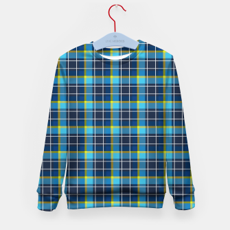 Thumbnail image of Blue and Yellow Check Kid's sweater, Live Heroes