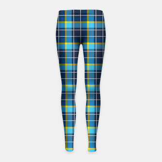 Thumbnail image of Blue and Yellow Check Girl's leggings, Live Heroes
