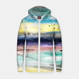 Thumbnail image of Summer watercolor abstract art design Cotton zip up hoodie, Live Heroes