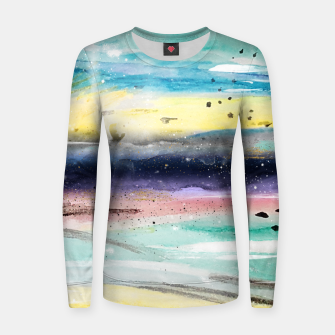 Thumbnail image of Summer watercolor abstract art design Woman cotton sweater, Live Heroes