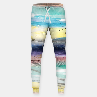 Thumbnail image of Summer watercolor abstract art design Cotton sweatpants, Live Heroes