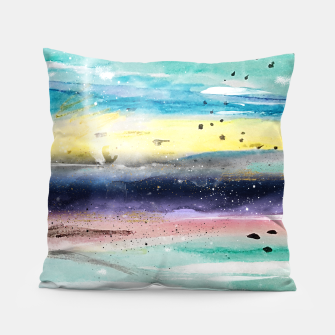 Thumbnail image of Summer watercolor abstract art design Pillow, Live Heroes