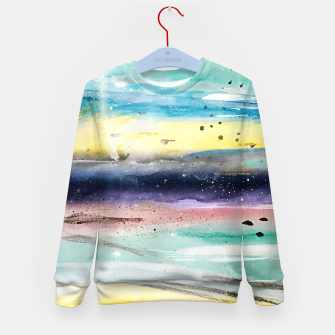 Thumbnail image of Summer watercolor abstract art design Kid's sweater, Live Heroes