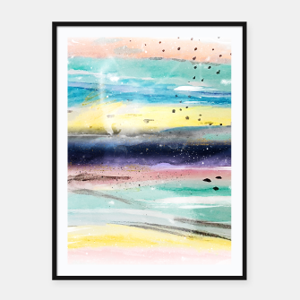 Thumbnail image of Summer watercolor abstract art design Framed poster, Live Heroes