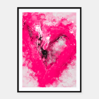 Thumbnail image of gxp pink flamingo love couple splatter watercolor Framed poster, Live Heroes