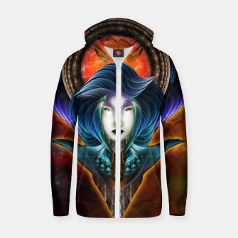 Thumbnail image of Trilia Red Nebula Portrait Cotton zip up hoodie, Live Heroes