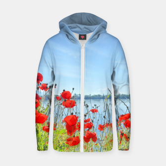 Thumbnail image of Poppies On The Lake Cotton zip up hoodie, Live Heroes