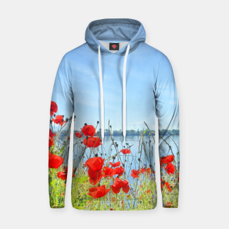 Thumbnail image of Poppies On The Lake Cotton hoodie, Live Heroes