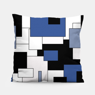 Thumbnail image of Abstract geometric pattern - blue, black and white. Pillow, Live Heroes